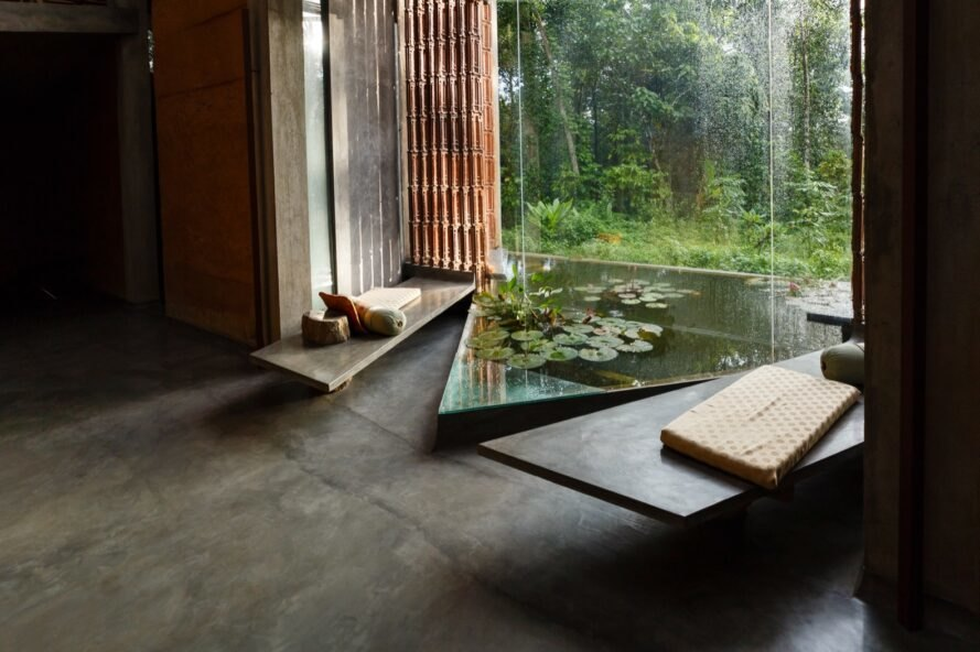 room with indoor pond