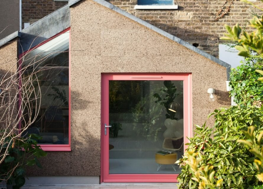 home extension clad in cork