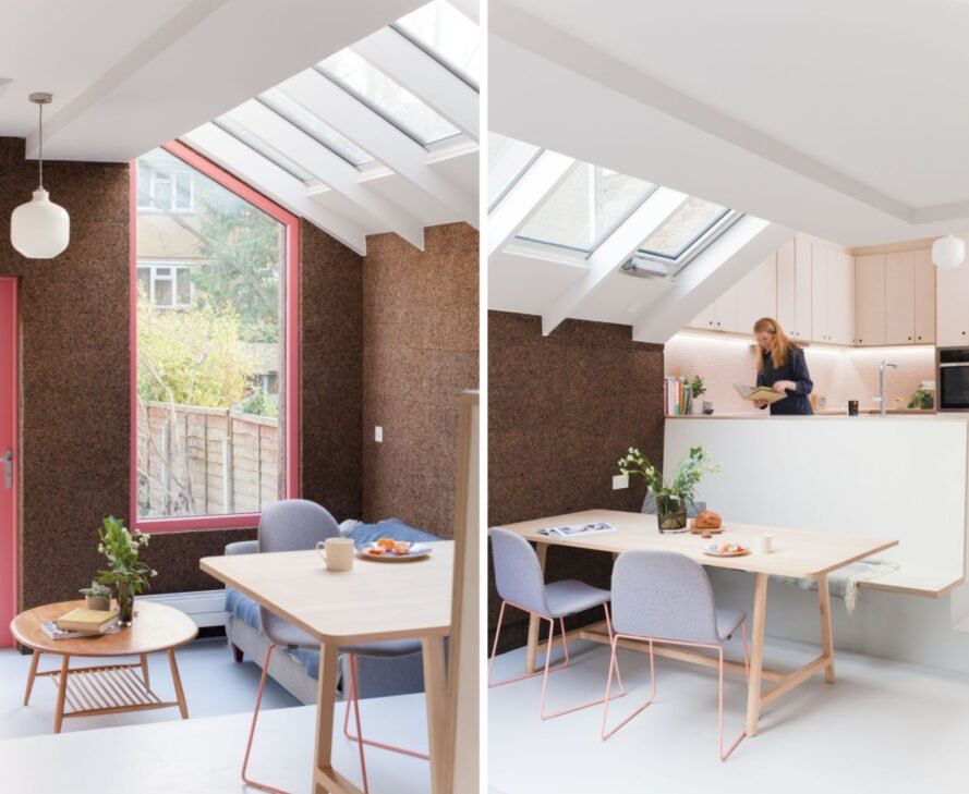 interior living space of cork-clad structure