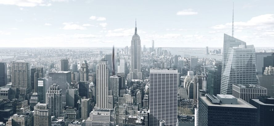 rendering of NYC skyline with skyscrapers