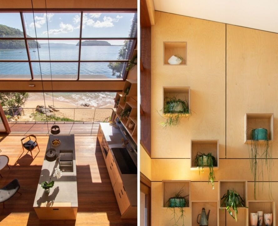 On the left, aerial view of open-plan living space. On the right, wall with cubbies that hold plants.