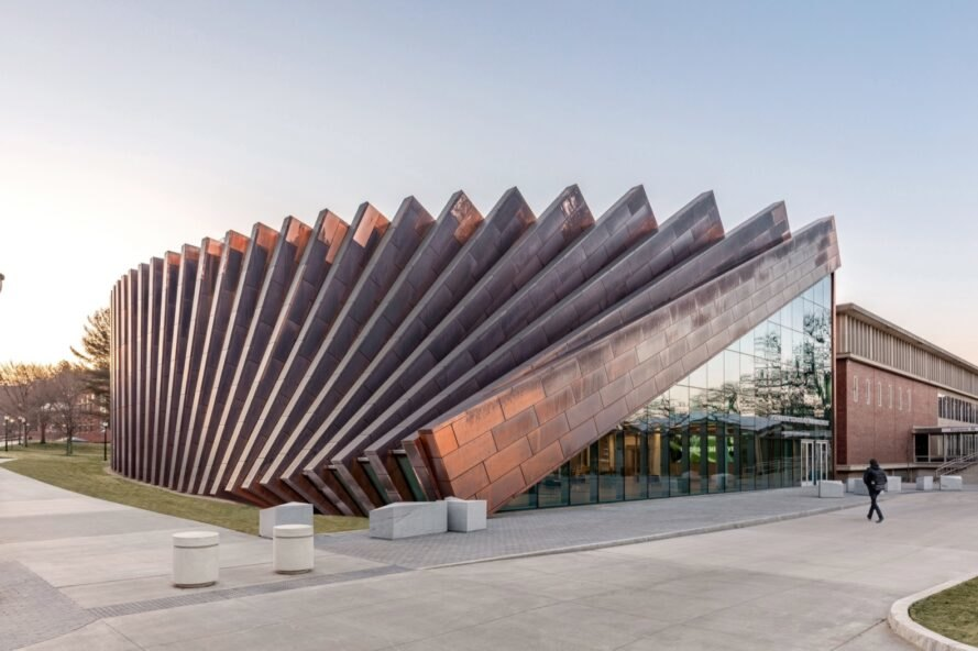 copper facade that looks like falling dominoes