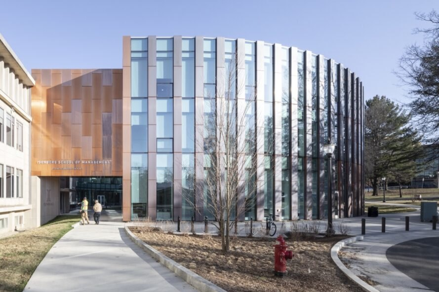 building school with copper and glass exterior