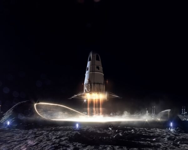 rendering of rocketship on the moon