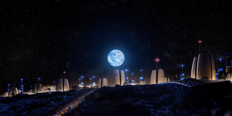 rendering of pod-like buildings on the moon with Earth in the sky
