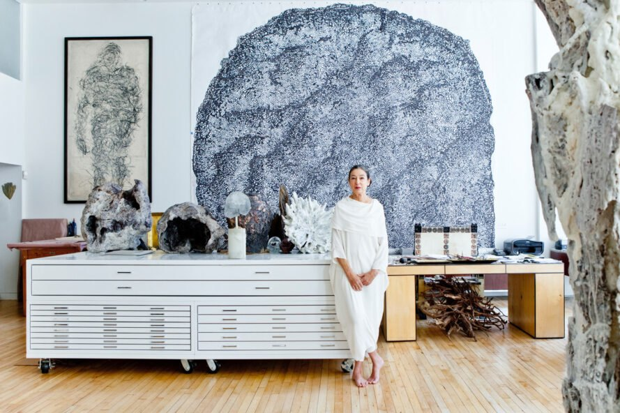 Michele Oka Doner in a bright art studio space