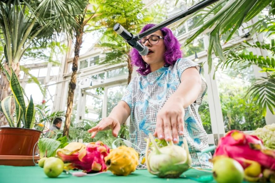 Angelica Negron playing her vegetable synth