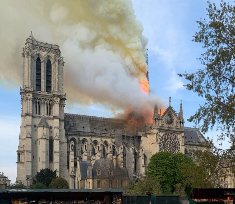 fire on roof of Notre Dame cathedral