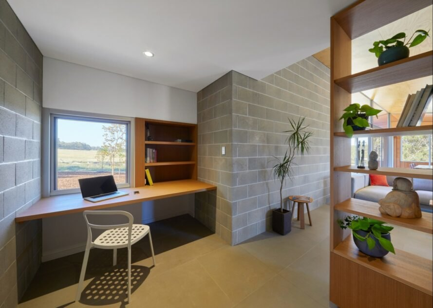 office space with large concrete block walls