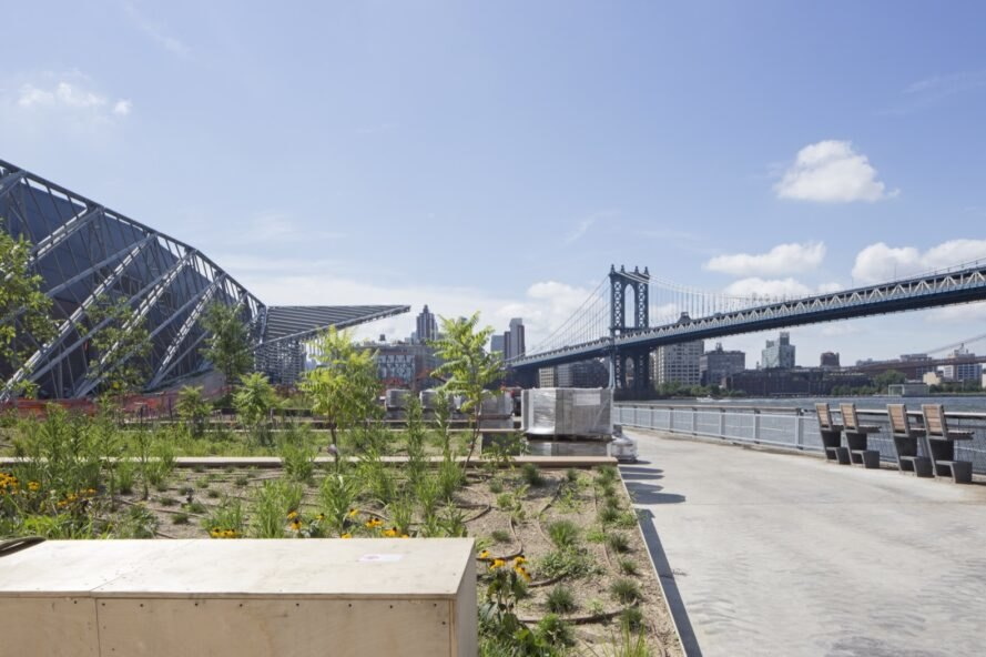 gardens with Brooklyn Bridge in distance
