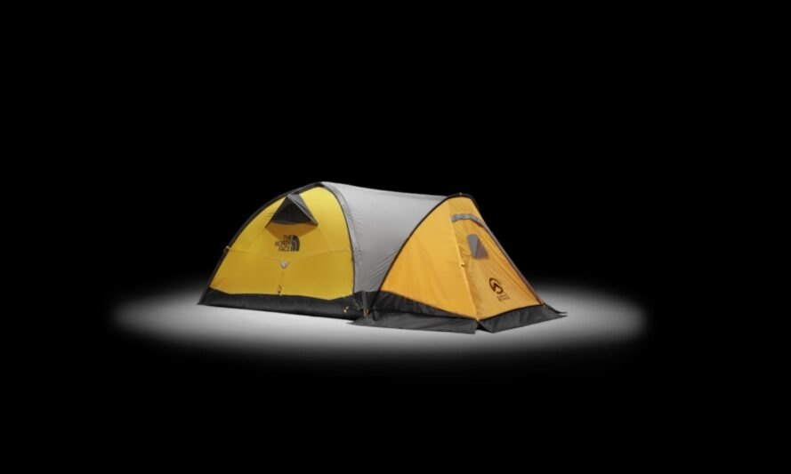 yellow, gray and black north face tent