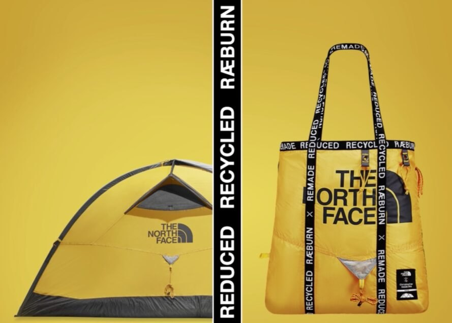 yellow north face tent turned into a yellow bag