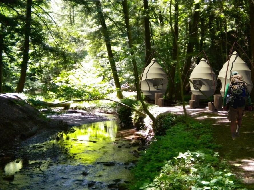 person hiking toward series of white, cocoon-shaped tents in a forest
