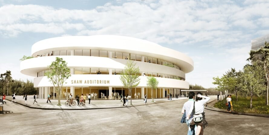 rendering of auditorium with students near the buiilding