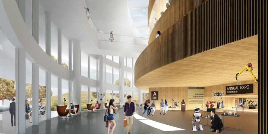 students pictured in a rendering of the interior of the auditorium