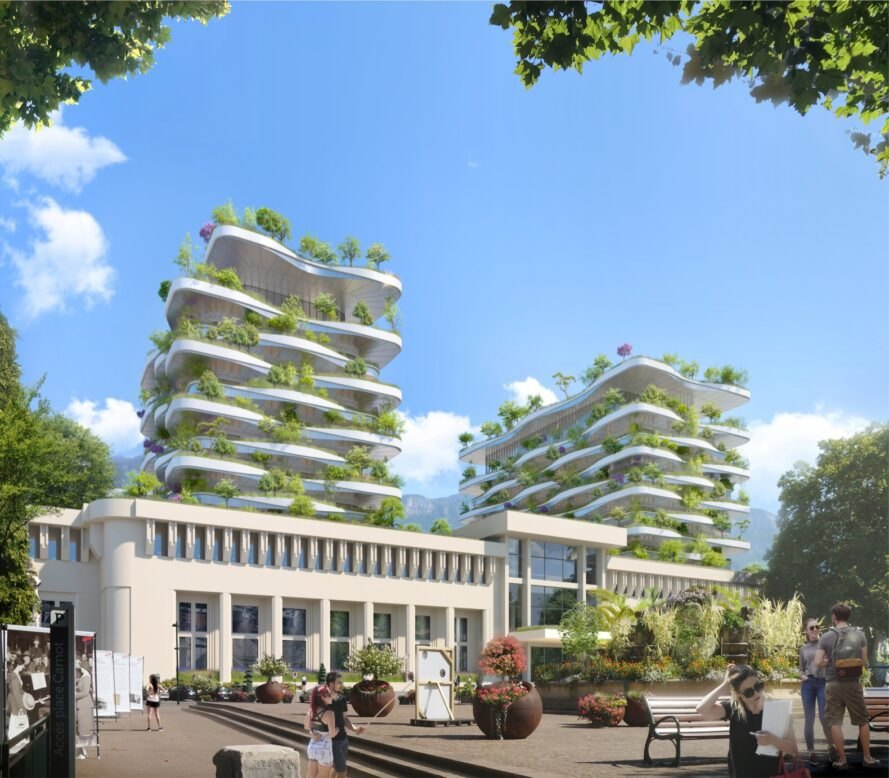 rendering of greenery-filled facade of tall building