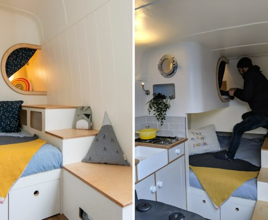 person climbing into a small porthole leading to a sleeping pod
