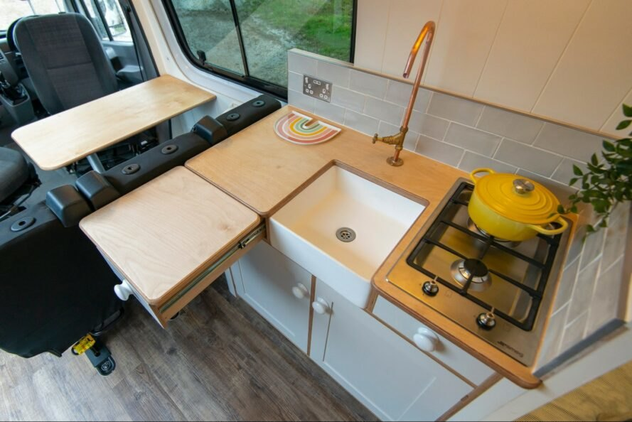 aerial shot of compact kitchen with pull-out counter