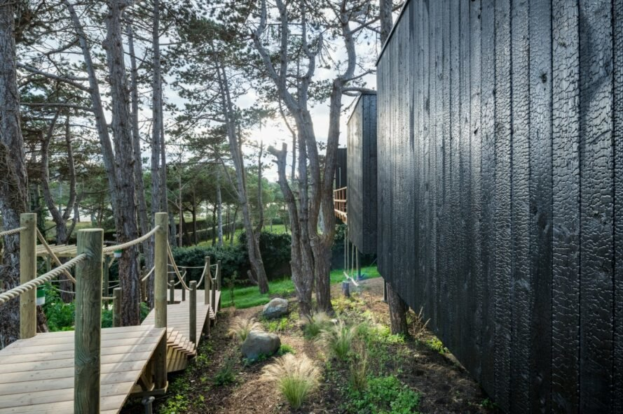 long wood walkway leading to black timber home