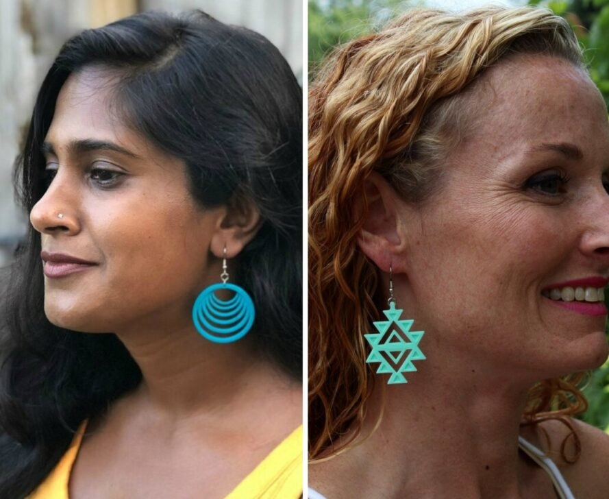 profile of two women with colorful pendant earrings