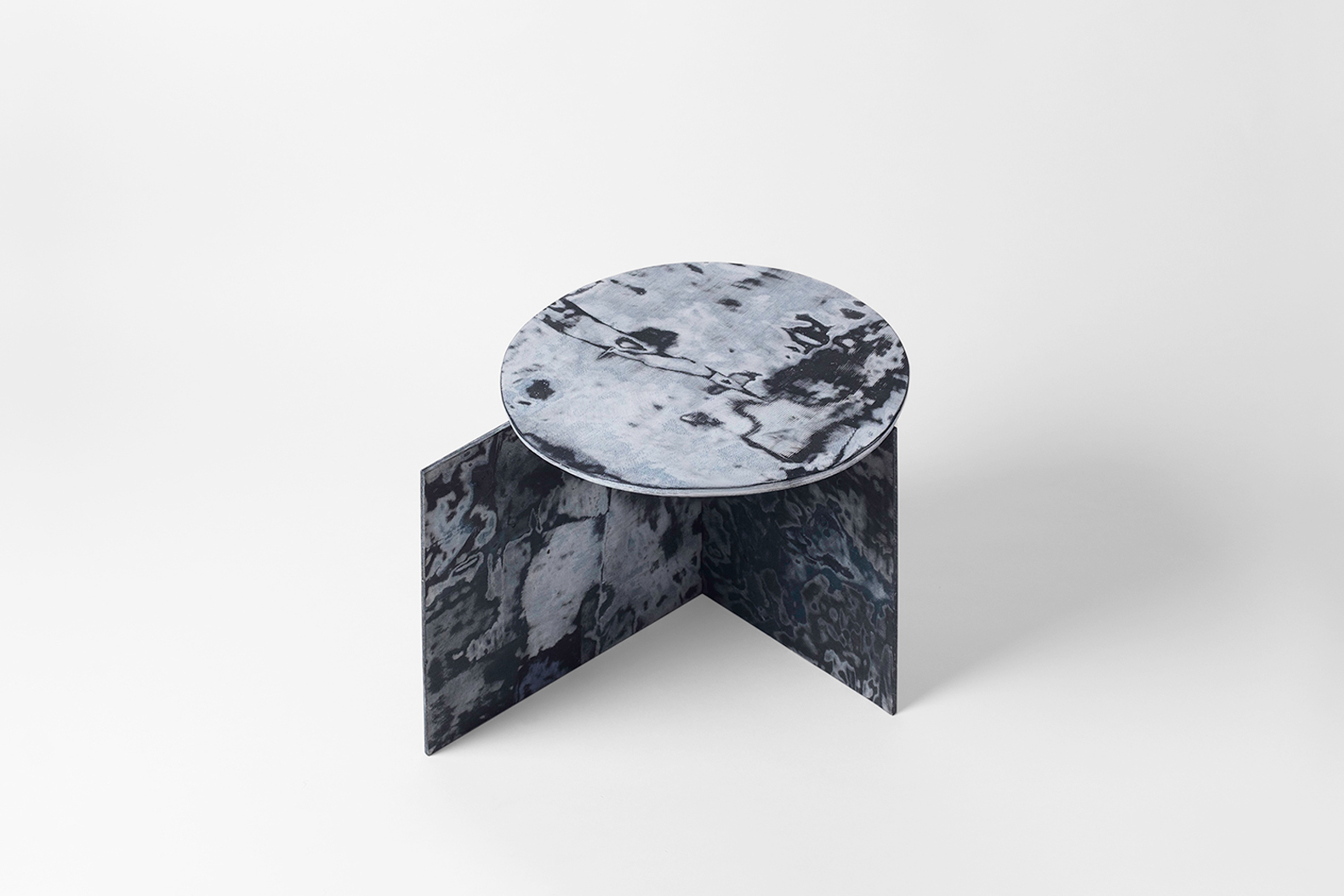 Designer Sophie Rowley creates marbled furniture from denim scraps