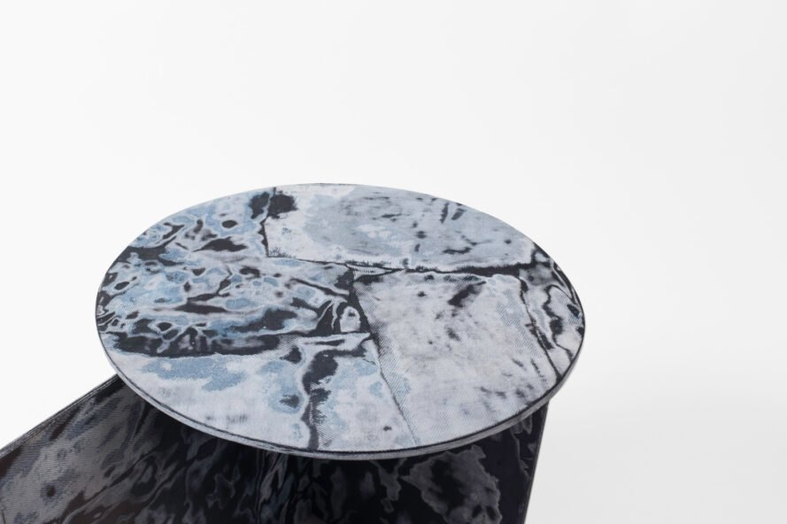 close-up of blue marbled table