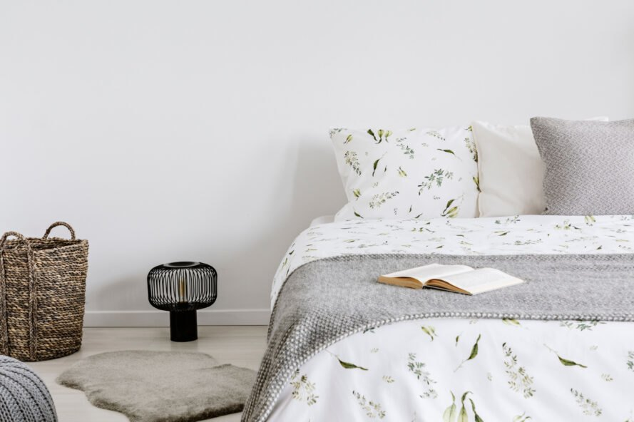 bedroom with organic cotton and wool bedding