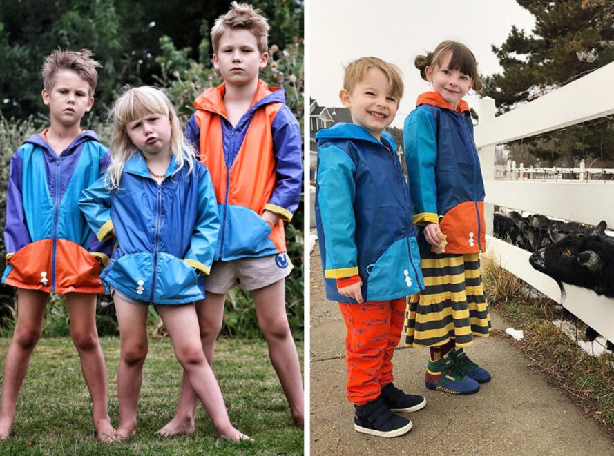 groups of kids wearing colorful jackets and feeding goats
