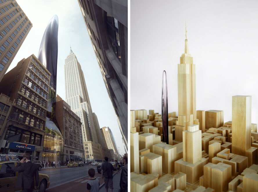 rendering and model of a skyscraper in NYC