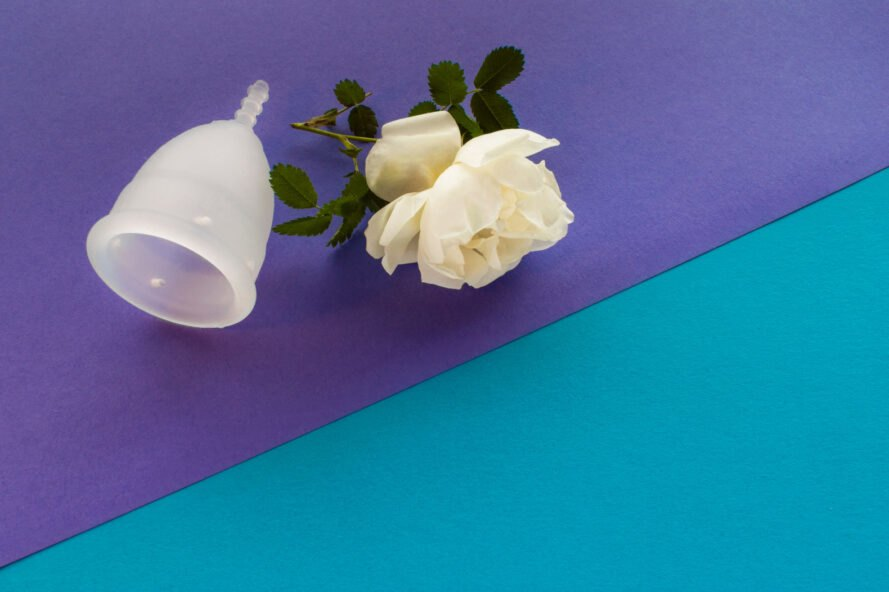 menstrual cup and a flower on blue and purple background