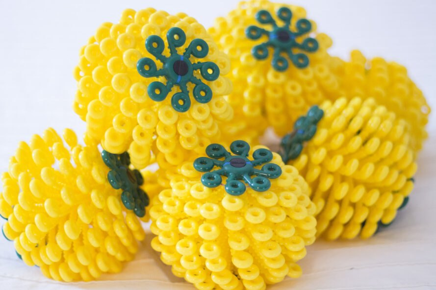 yellow and green coral ball