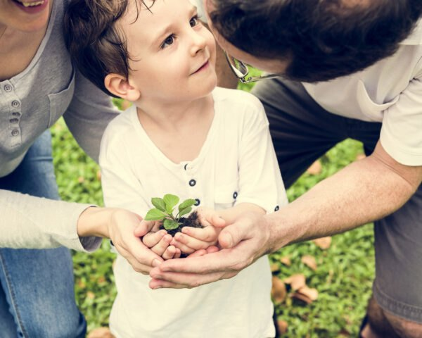 mother and father hold young son's hands filled with plant in hands