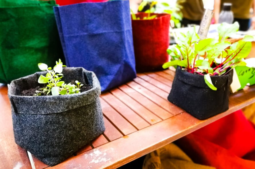 carpet made into plant pots