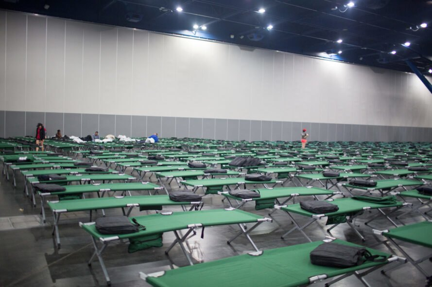 room full of green cots