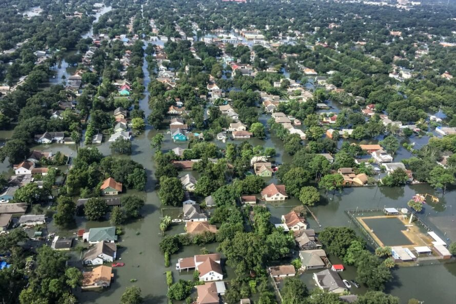 aerial view of homes in Houston flooded from hurricane