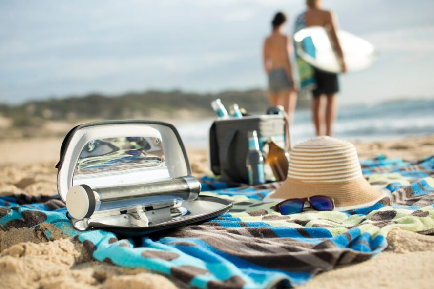 solar cooker on the beach