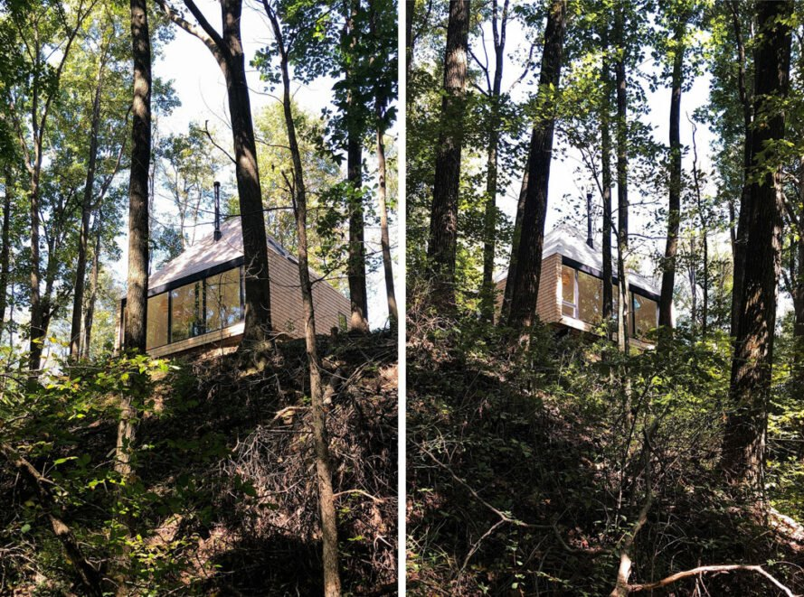 wood cabin perched high in a forest