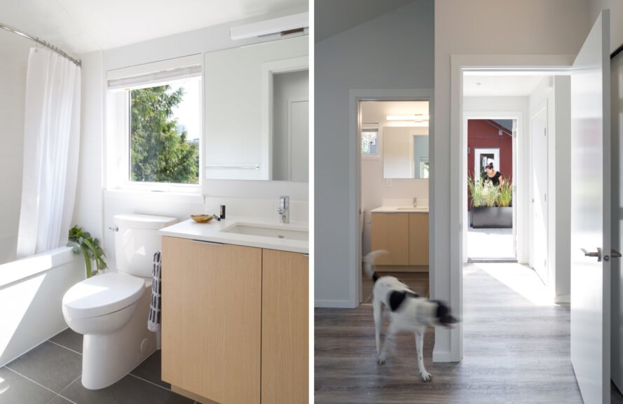 On the left, bathroom with white walls and tan cabinet. On the right, dog walking through a hallway.