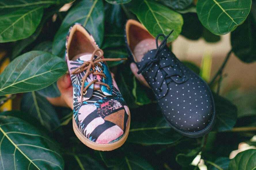 two differently patterned vegan oxford shoes