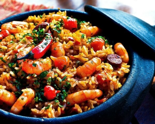 pot of rice, shrimp and peppers