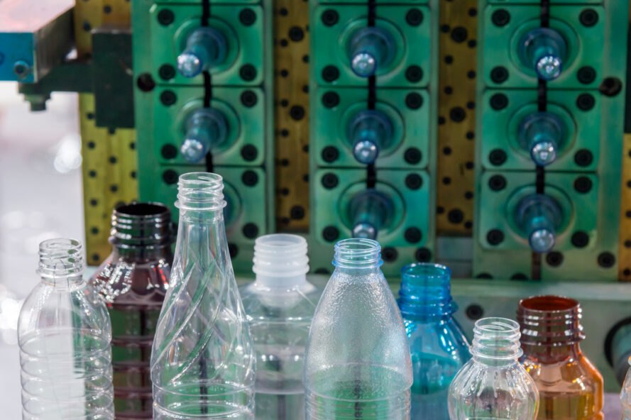 different plastic bottle molds in a factory