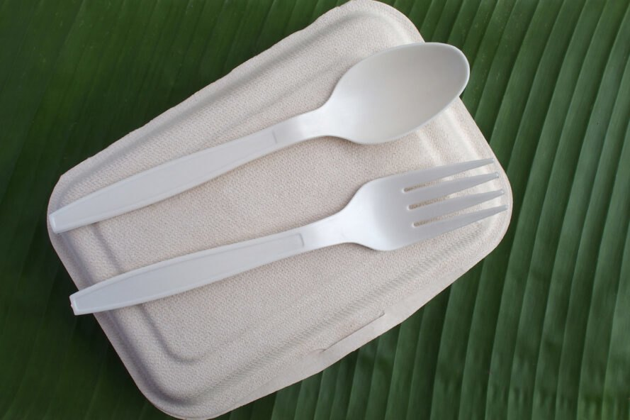 fork and spoon made from bioplastic