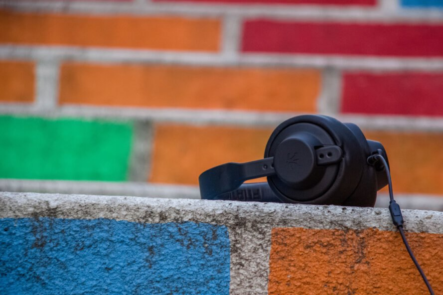 black headphones on colorful brick steps