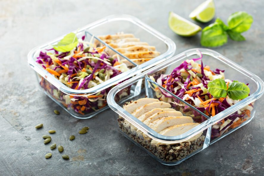ready to-go meals in glass containers