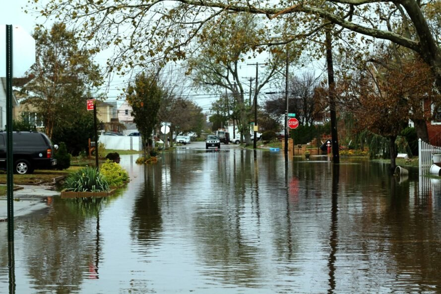 residential streets flooded with storm waters