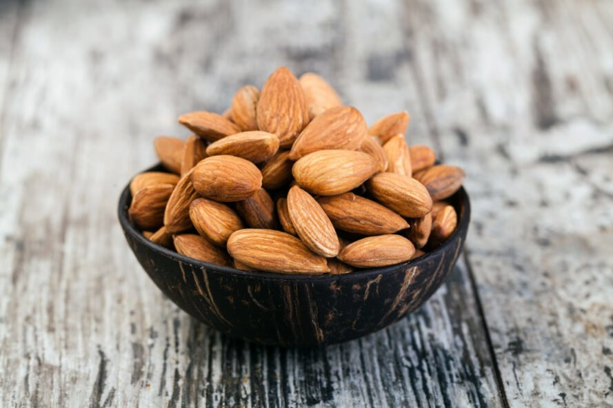 wood bowl of almonds