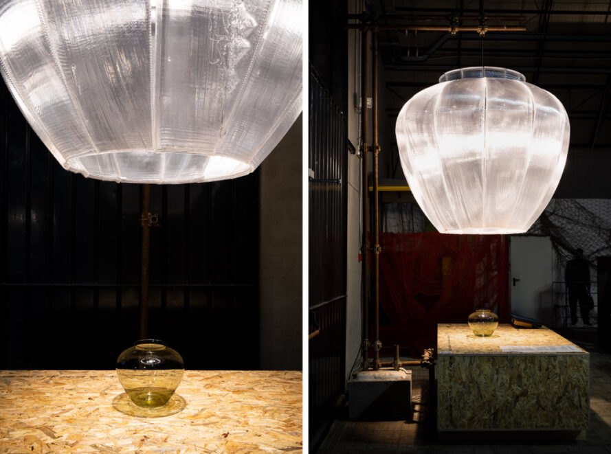 semi-translucent lamp above wood table