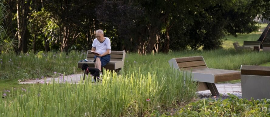 man sitting on chair in park