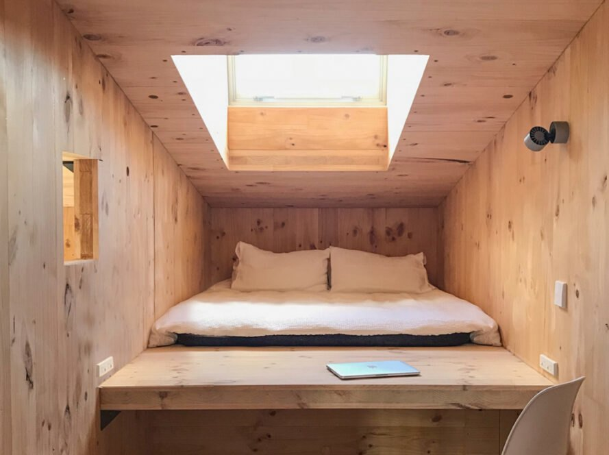 sleeping loft inside tiny cabin