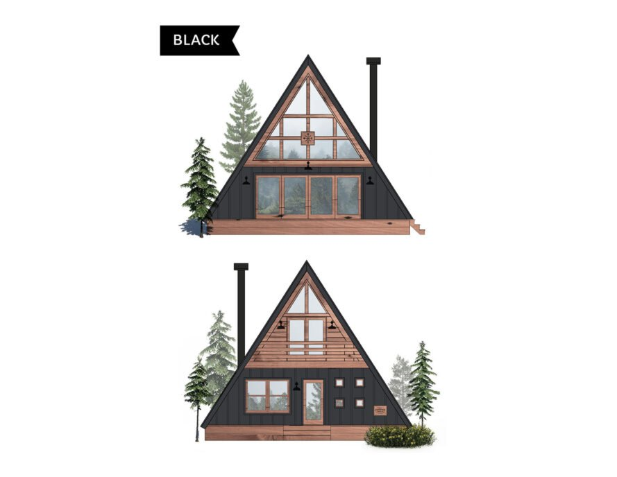 diagram of black and light wood A-frame cabin